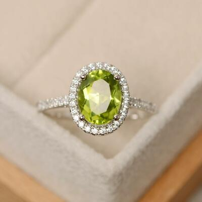 Brilliant Cut Peridot Ring - 2.25 Ct Oval Brilliant Cut Green Peridot Engagement Ring 14K White Gold Over