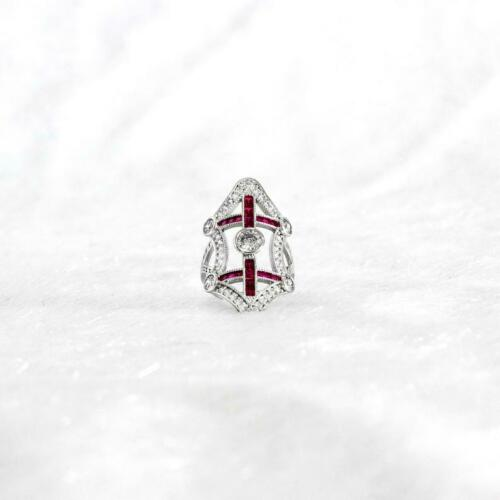 Victorian Art Deco Square Shape Red Rubies & Old Mine Cut CZ Amazing Women Ring