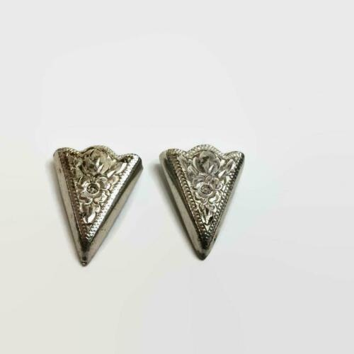 Art Deco Vintage Two Crumrine Solid 925 Sterling Silver Fantastic Collar Tips