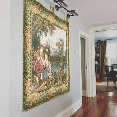 Blue Tree of Life Aubusson Tapestry Art Wall Hanging Antique Home Room Decor