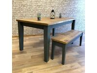 Reclaimed Style Rustic Tapered Leg Farmhouse Pine Kitchen Dining Table - Any Size, Any Colour!