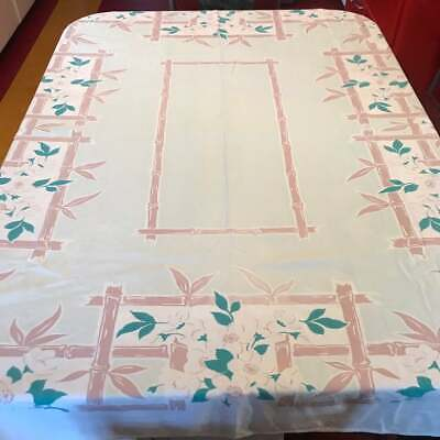 Vintage 1940s Floral Tablecloth 1950s kitchen Pastel Green Dk Green White Brown