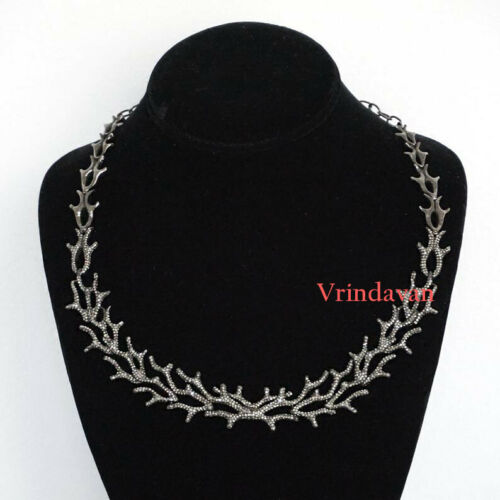 925 Sterling Silver Natural Rosecut Diamond Antler Victorian Wedding Necklace