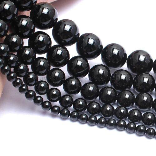 Natural Black Tourmaline Gemstones Round Beads 15.5