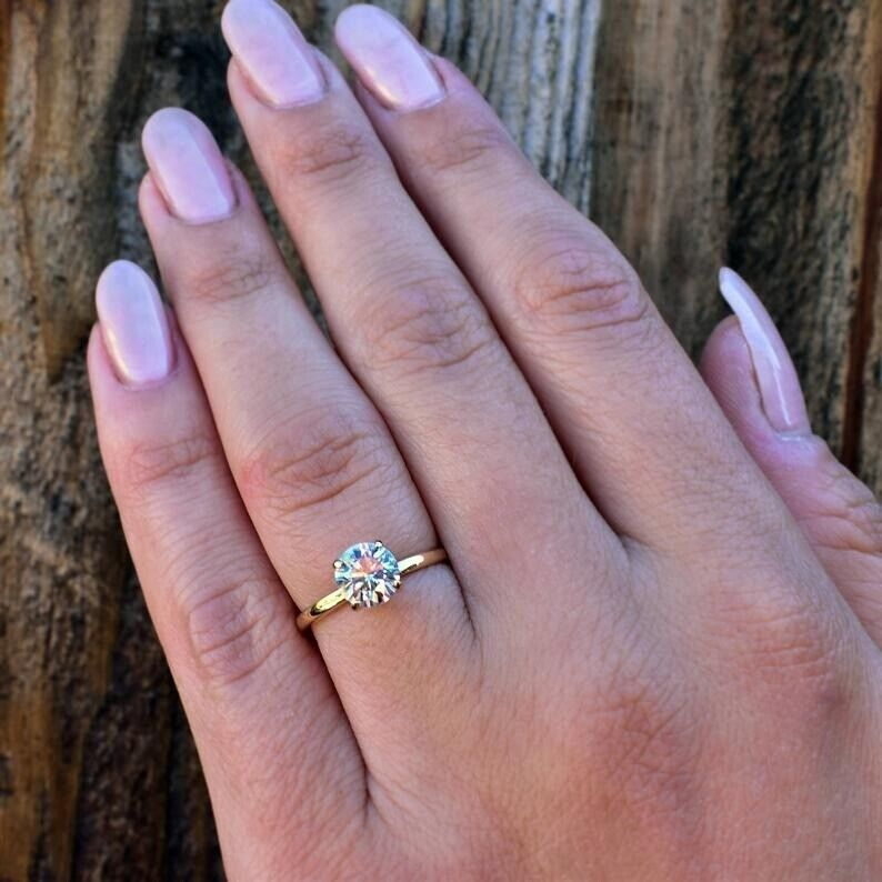 1.5Ct Round cut Diamond 14K Yellow Gold Over Engagement Vintage Women's Ring 1