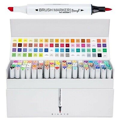 Bianyo 72 colors alcohol-based Sketch markers,dual tips,brush and chisel tip