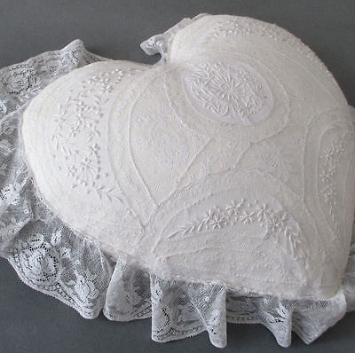 Vintage French NORMANDY LACE + Feather Pillow HEART Shape Embroidered FLOWERS 2