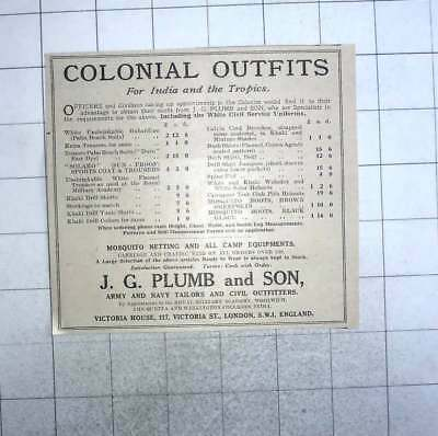 1928 Colonial Outfits For Indian And Tropics, Jg Plumb And Son - Colonial Outfits