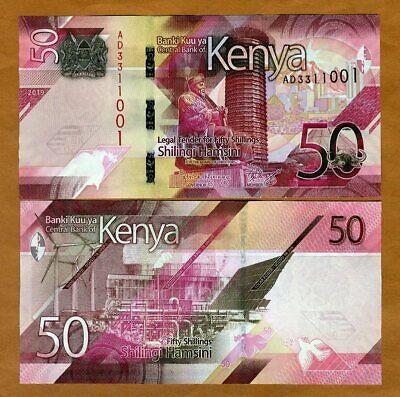 Kenya, 50 shillings, 2019, P-New, AD-Prefix, UNC > New Design