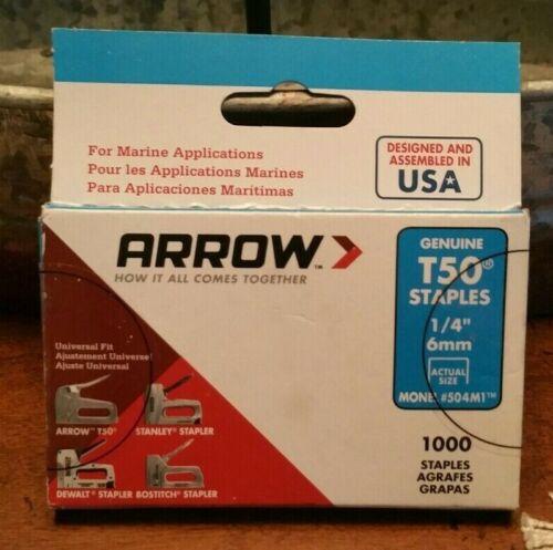 "Arrow Fastener 504M1 1000 Pack 1/4"" T50 Monel Rustproof Marine Staples"