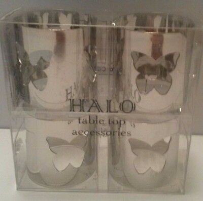 Halo Tabletop Accessories Set of 4 Napkin Rings butterfly cutout /Candle Holders
