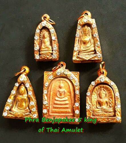 Real Phra Benjapakee 5 king of Thai Amulet Old Buddha Powerful Kru Wat Phra Keaw