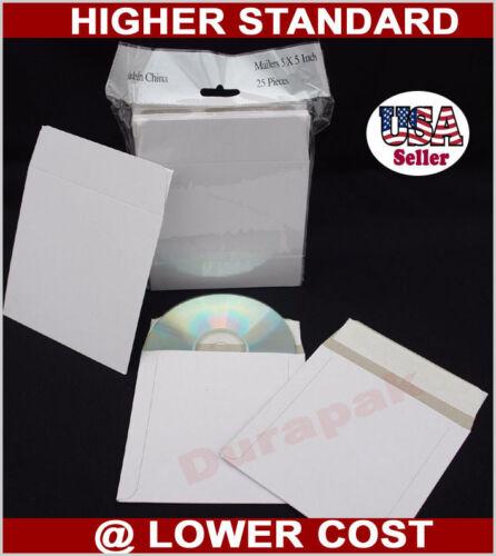 """500 PCS 5x5"""" Self Seal CD Disc Mailer Envelope Rigid Cardboard Postage Saving"""