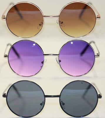 Retro Sonnenbrille Metall rund silber schwarz lila Lennon Stil 532 ()