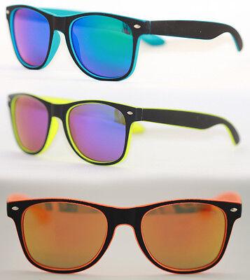 Retro Sonnenbrille Hippster schwarz matt gummiert neon gelb blau verspiegelt 462