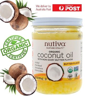 NUTIVA ORGANIC COCONUT OIL BUTTER FLAVOUR VEGAN USDA NO TRANS FAT POPCORN TOAST