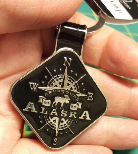 Alaska Keychain - Alaska Compass 2 sided keychain - Metal Alaska Keychain NICE