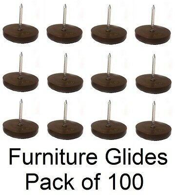 3/4″ Furniture Chair Nail Feet Glides Protect Floor (Brown) – Pack of 100 Furniture