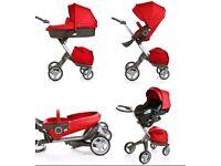 Stokke xplory v4 pushchair pram 2 in 1 red melange carrycot footmuff bag LOTS OF EXTRAS £1800 VGC