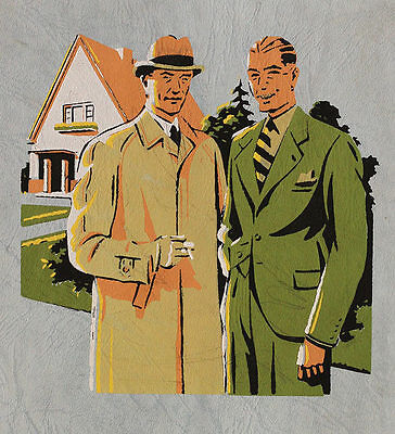 Beautiful 1940s men's fashion stencil painting, artwork