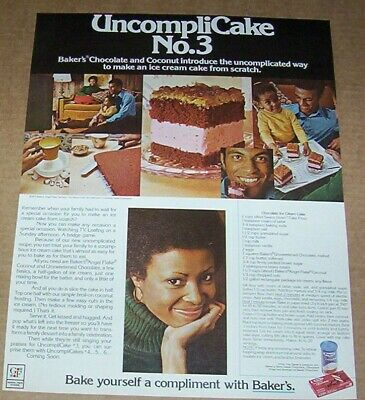 1972 print ad page - Baker's Coconut chocolate ice cream cake recipe advertising