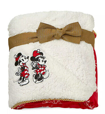 Disney Mickey and Minnie Mouse Christmas Holiday Throw Blanket Couverture Plaid