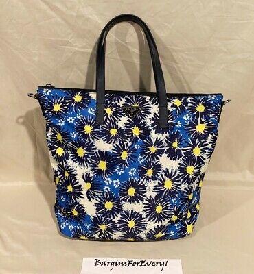 New Prada Printed Nylon Tote / Handbag - B4696F - Bluette Margherita