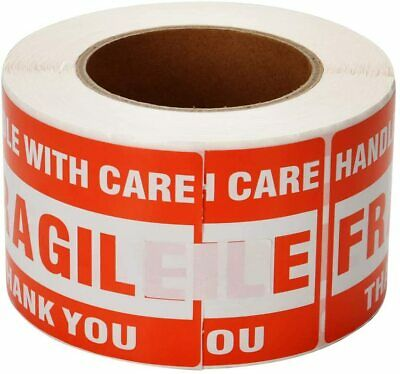 1roll 500 Shipping Labels Fragile Stickers 3x5 Handle With Care Caution Warning