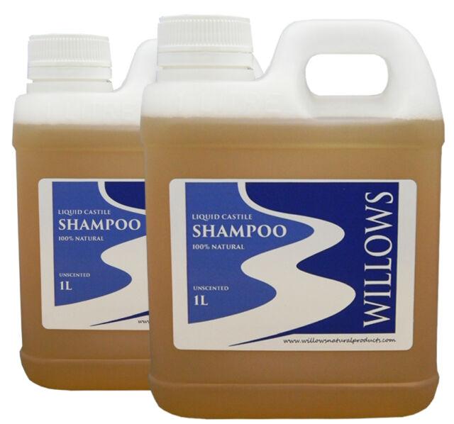 LIQUID CASTILE SOAP SHAMPOO BLEND UNSCENTED & 100% NATURAL 2 x 1 ltr INCL P&H