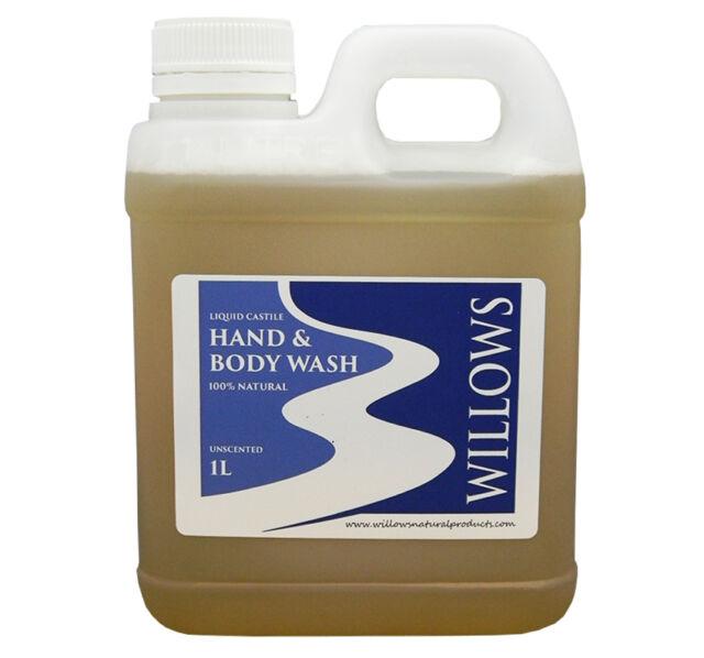 LIQUID CASTILE SOAP HAND & BODY WASH BLEND UNSCENTED 100% NAT. 1 L INCL P&H