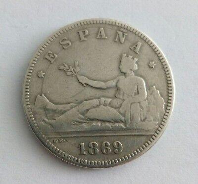 Gobierno Provisional. 1869*(18-69). 2 Pesetas (BC-) Ceca de Madrid SN-M segunda mano  Manresa
