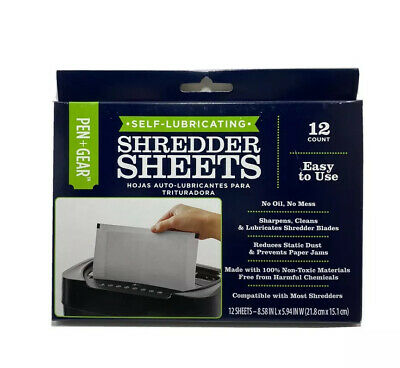 Document Shredder Cleaning Sheets Self-lubricating -universal- 12ct 8.5x6in