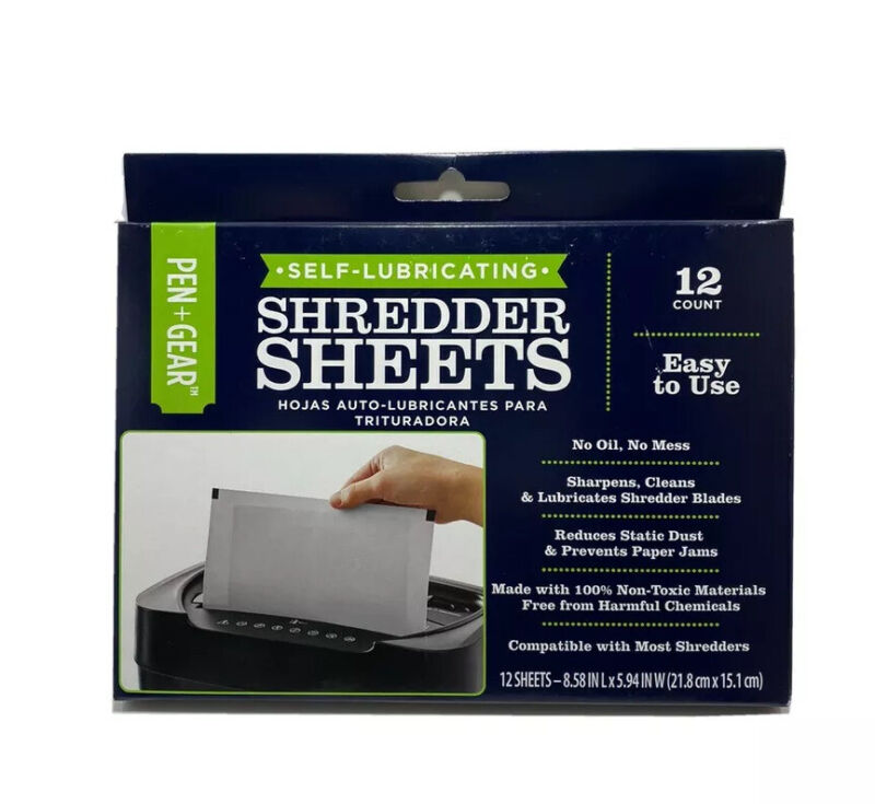 Document Shredder Cleaning Sheets   Self-lubricating -Universal- 12ct (8.5x6in)