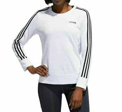 adidas Ladies' 3-Stripe Crewneck Pullover White Sz M Fast Ship NWT