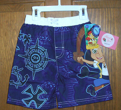 Disney Jake And The Neverland Pirates Swim Bathing Suit Trunks Shorts Boys 4t