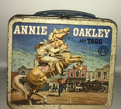 1955 Vintage Annie Oakley and Tagg Lunchbox with Thermos Aladdin Delira
