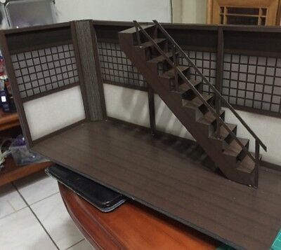 """GD-01-1/12: FIGLot Paper-craft Diorama 1/12 scale Dojo with Stair for 6"""" figures"""