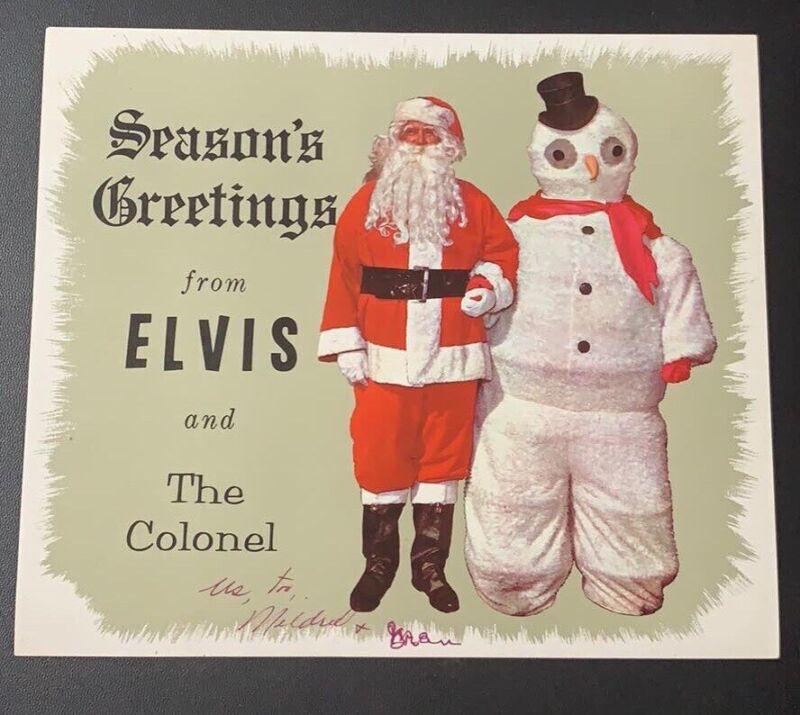 RARE Seasons Greetings From Elvis & The Colonel Parker Santa Sticker / Memphis