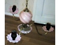 two antique brass and glass chandlers