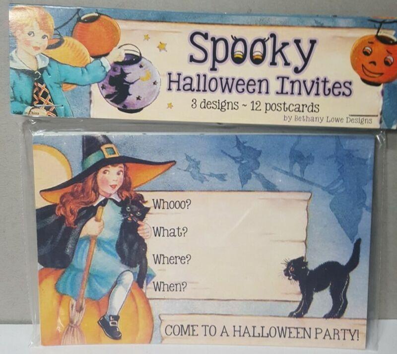 "Set 12 Bethany Lowe Halloween Party Invitations Postcards 4"" x 6"" Vintage Image"