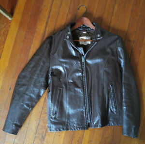 Vintage Rocker Motorcycle Leather Jacket Men's Size 40