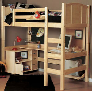 Twin Loft Bed with Media Cart from Wayfair