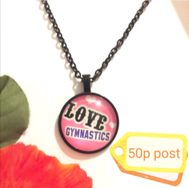 Jewellery Women's Woman's Gift Necklace Cabochon Black pink love