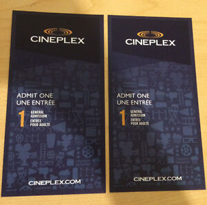 Authentic PAIR (2) CINEPLEX General Admission Tickets