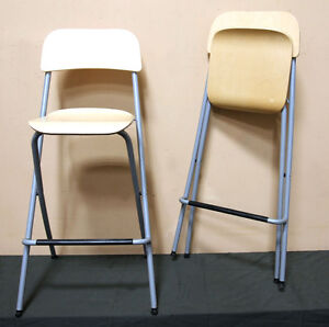 2 Handsome IKEA FRANKLIN Stools w/ Birch Seats! SEE VIDEO