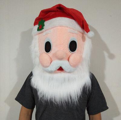 Santa Mascot Costume  Head Mask Soft Plush Santa  Costume Unisex Cosplay  - Santa Mascot Costume