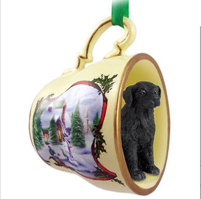 Flat Coated Retriever Dog Christmas Holiday Teacup Ornament Figurine