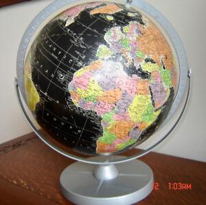 "Vintage 12"" Encyclopedia Britannica Black Ocean World Tble Globe"