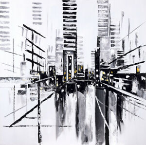 """""""West Georgia"""" Abstract Cityscape Acrylic Painted Art Home Decor"""