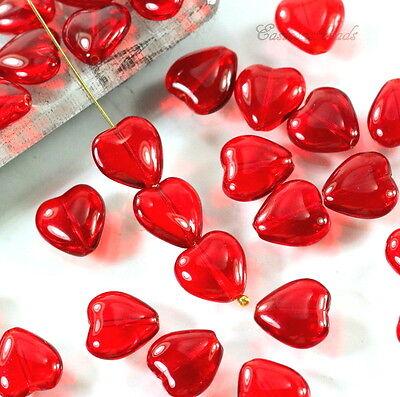 Heart Beads, 12X11mm, Transparent Red Glass Beads, Czech Beads, 15 Beads](Glass Hearts)